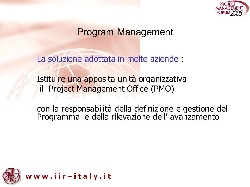 Program Management La soluzione adottata in molte aziende :