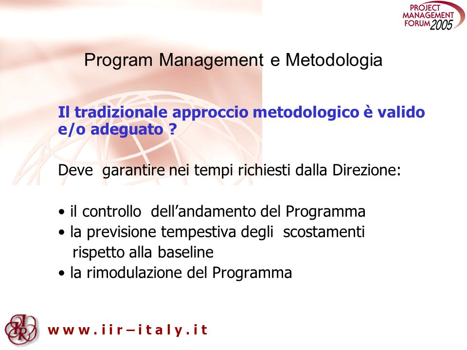 Program Management e Metodologia