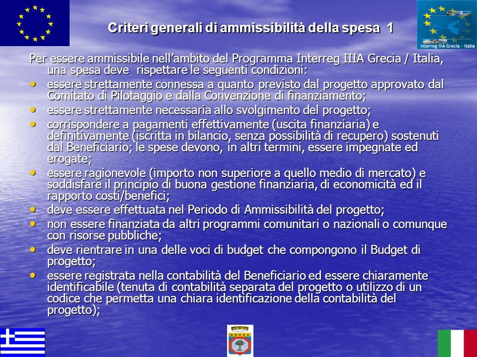Criteri generali di ammissibilità della spesa 1
