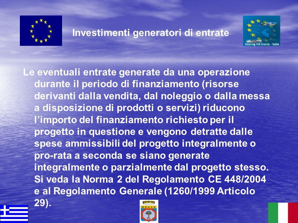Investimenti generatori di entrate