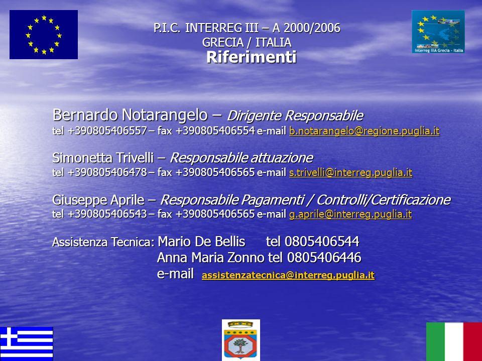 P.I.C. INTERREG III – A 2000/2006 GRECIA / ITALIA
