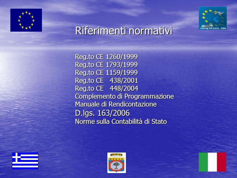Riferimenti normativi Reg. to CE 1260/1999 Reg. to CE 1793/1999 Reg