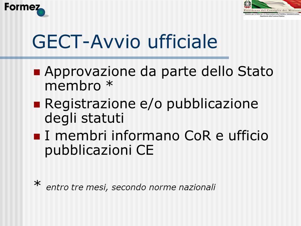 GECT-Avvio ufficiale Approvazione da parte dello Stato membro *