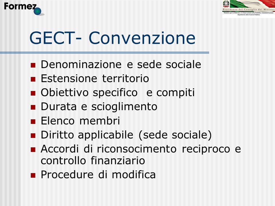 GECT- Convenzione Denominazione e sede sociale Estensione territorio