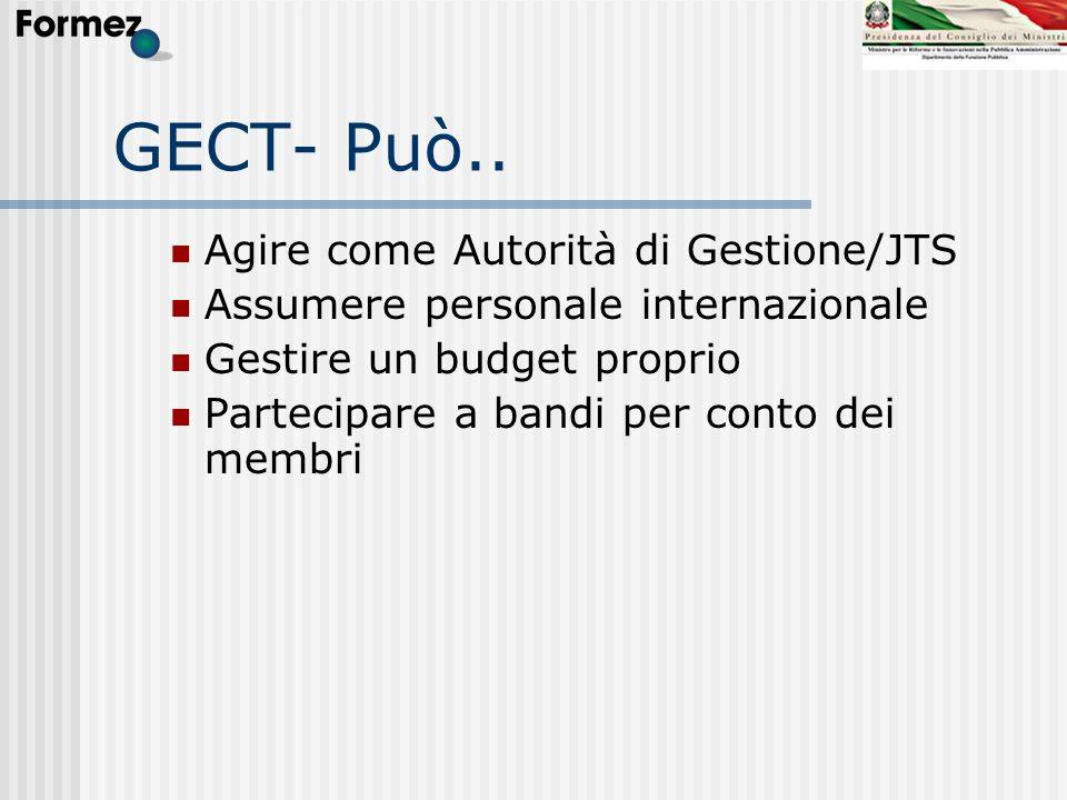 GECT- Può.. Agire come Autorità di Gestione/JTS