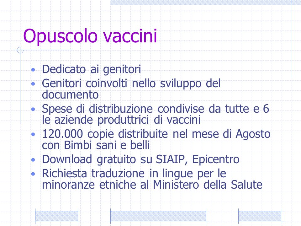 Opuscolo vaccini Dedicato ai genitori