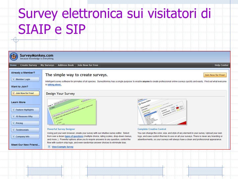 Survey elettronica sui visitatori di SIAIP e SIP