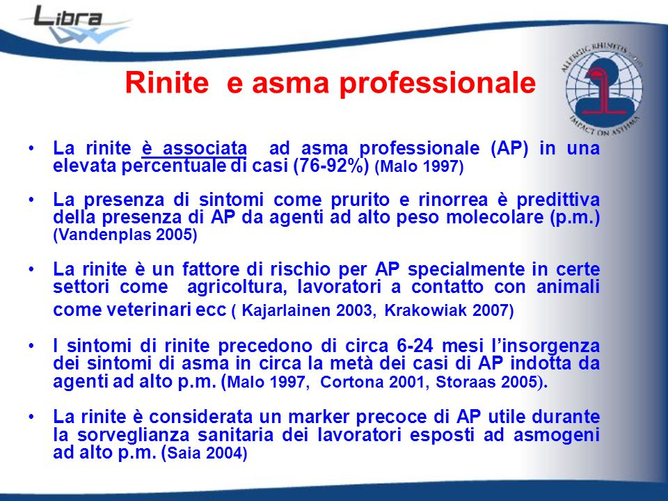 Rinite e asma professionale