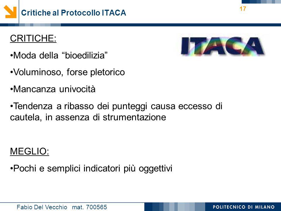 Critiche al Protocollo ITACA