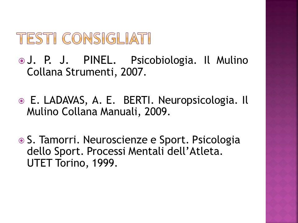 Testi consigliati J. P. J. PINEL. Psicobiologia. Il Mulino Collana Strumenti, 2007.