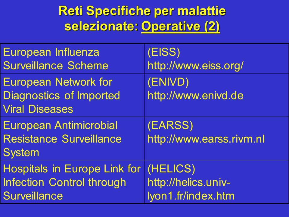 Reti Specifiche per malattie selezionate: Operative (2)