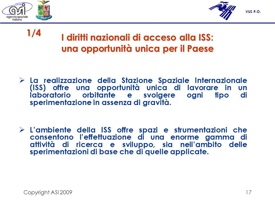 Copyright ASI 2009 I diritti nazionali di acceso alla ISS: una opportunità unica per il Paese. 1/4.