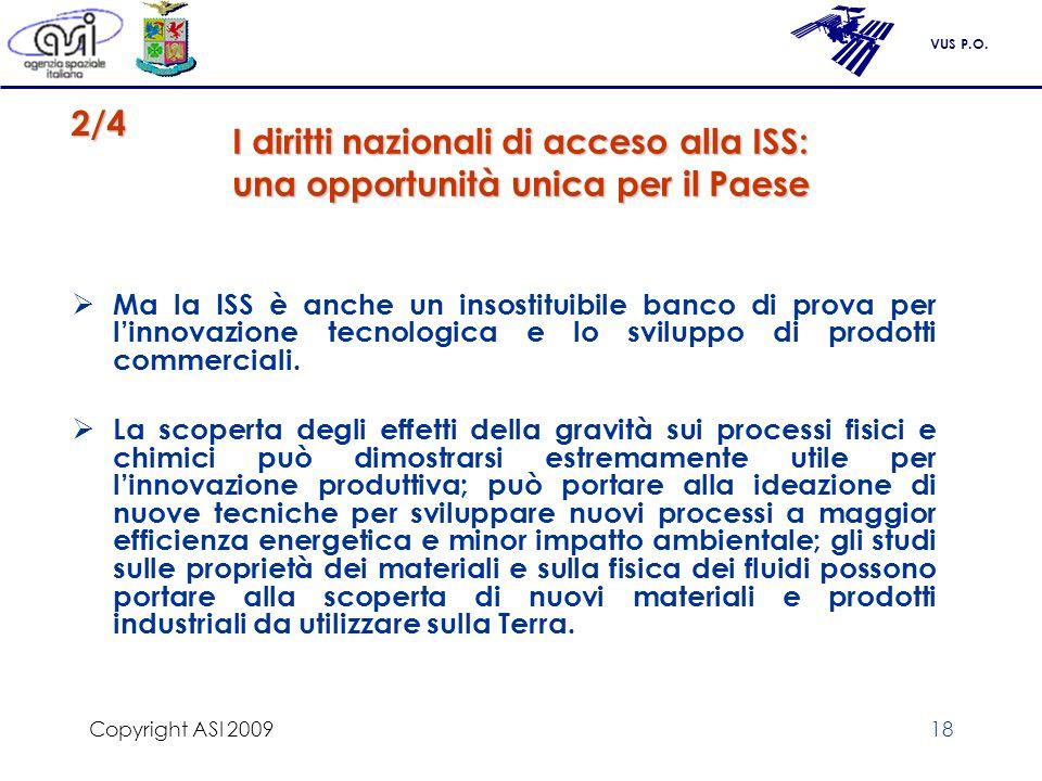 Copyright ASI 2009 I diritti nazionali di acceso alla ISS: una opportunità unica per il Paese. 2/4.