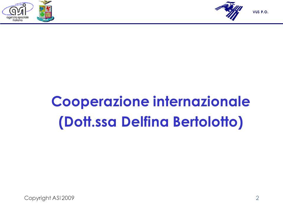 Cooperazione internazionale (Dott.ssa Delfina Bertolotto)