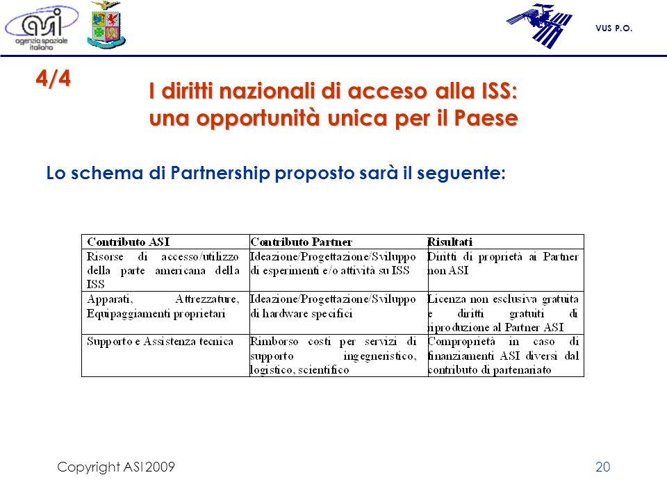 Copyright ASI 2009 4/4. I diritti nazionali di acceso alla ISS: una opportunità unica per il Paese.