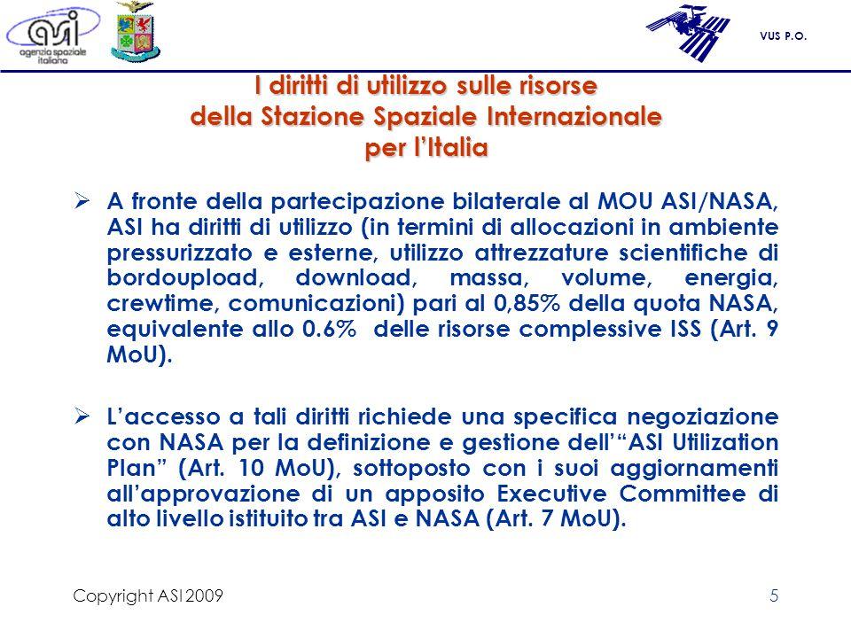Copyright ASI 2009 I diritti di utilizzo sulle risorse della Stazione Spaziale Internazionale per l'Italia.