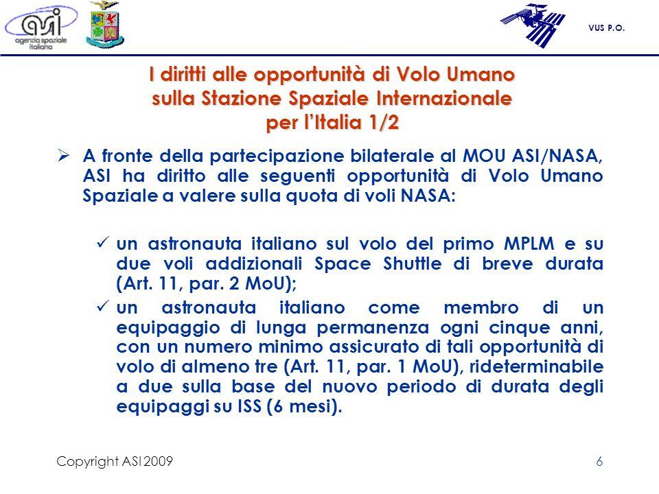 Copyright ASI 2009 I diritti alle opportunità di Volo Umano sulla Stazione Spaziale Internazionale per l'Italia 1/2.