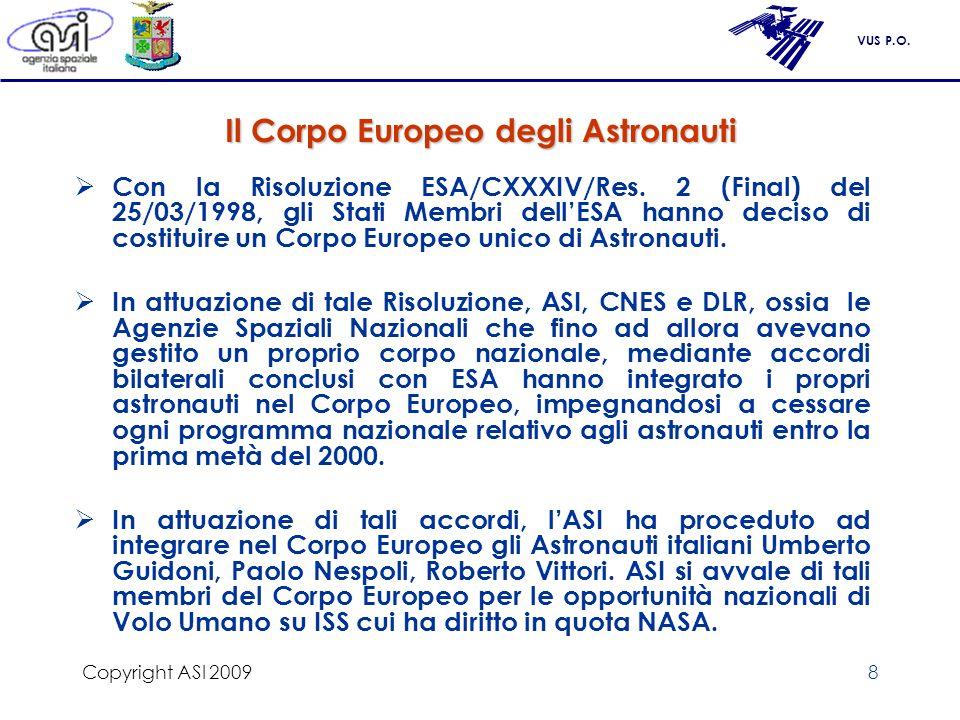 Il Corpo Europeo degli Astronauti