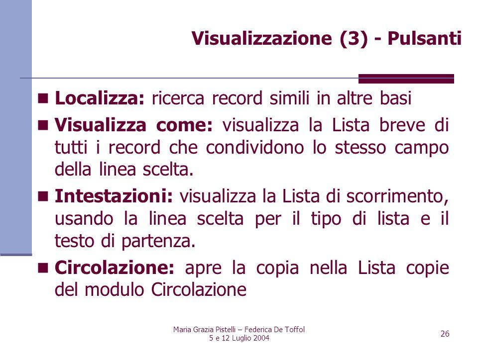 Visualizzazione (3) - Pulsanti