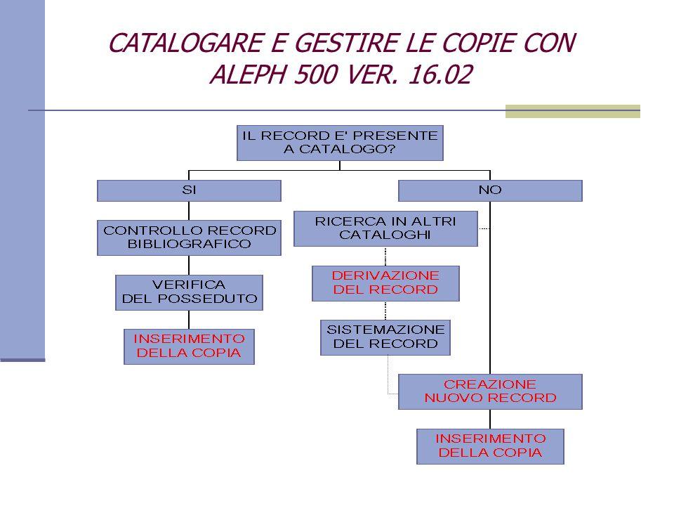 CATALOGARE E GESTIRE LE COPIE CON ALEPH 500 VER. 16.02