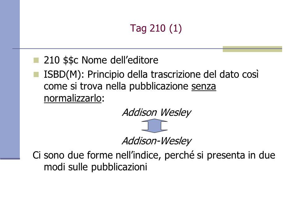 Tag 210 (1) 210 $$c Nome dell'editore. ISBD(M): Principio della trascrizione del dato così come si trova nella pubblicazione senza normalizzarlo: