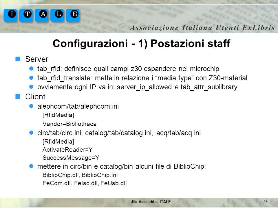 Configurazioni - 1) Postazioni staff