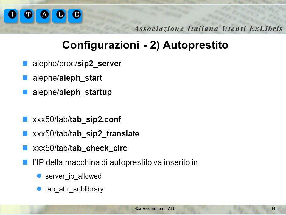 Configurazioni - 2) Autoprestito