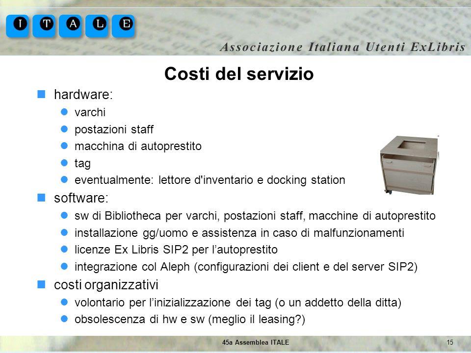 Costi del servizio hardware: software: costi organizzativi varchi