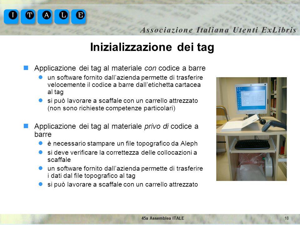 Inizializzazione dei tag
