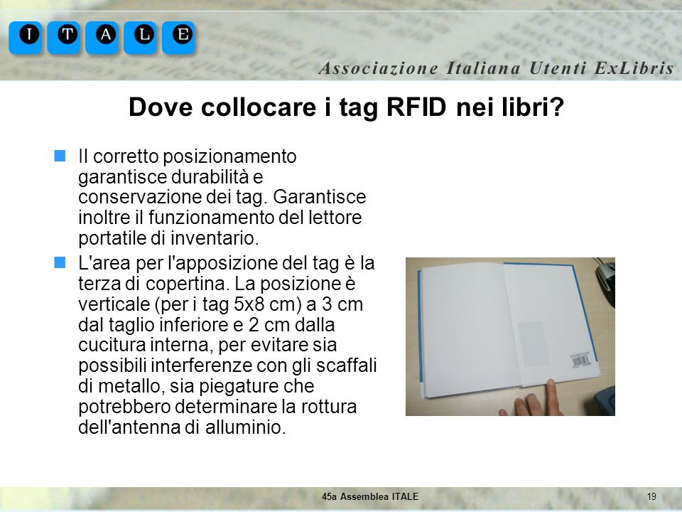 Dove collocare i tag RFID nei libri
