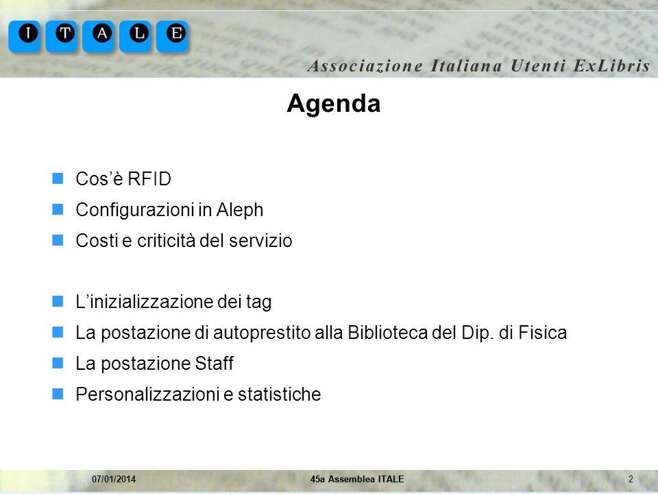 Agenda Cos'è RFID Configurazioni in Aleph