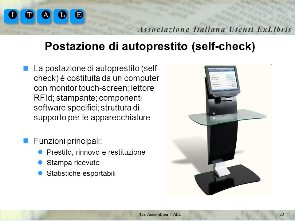 Postazione di autoprestito (self-check)