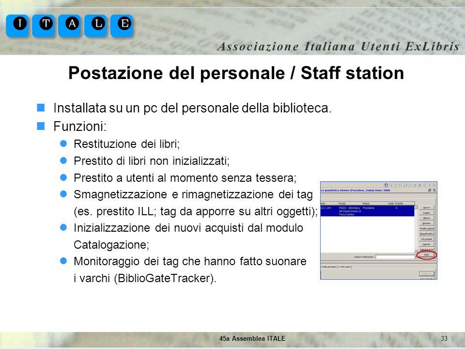 Postazione del personale / Staff station