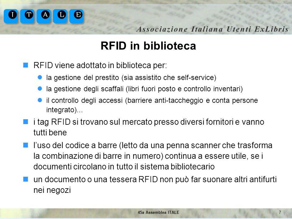 RFID in biblioteca RFID viene adottato in biblioteca per:
