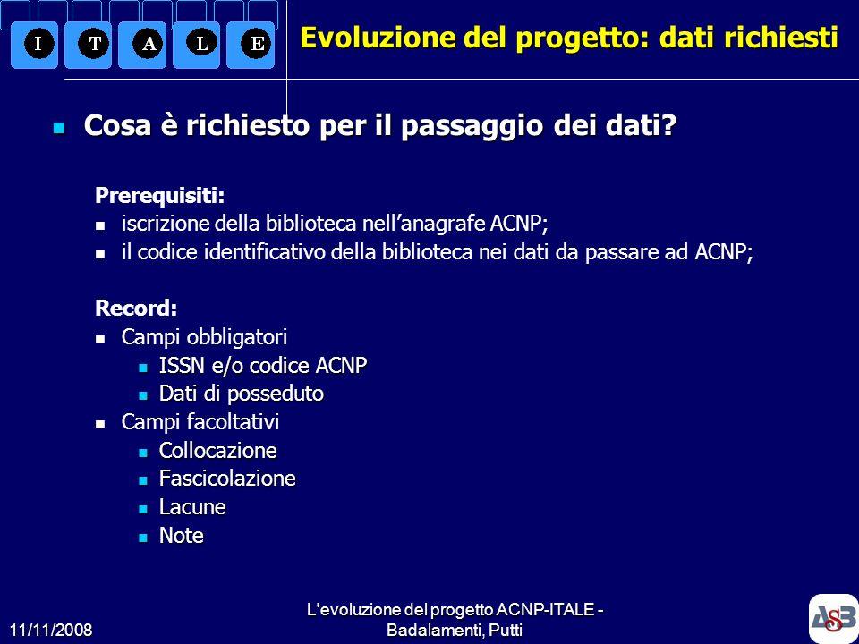 Evoluzione del progetto: dati richiesti