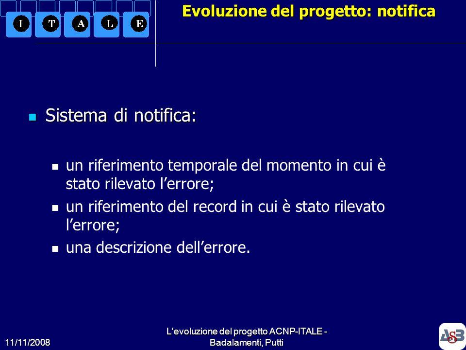 Evoluzione del progetto: notifica