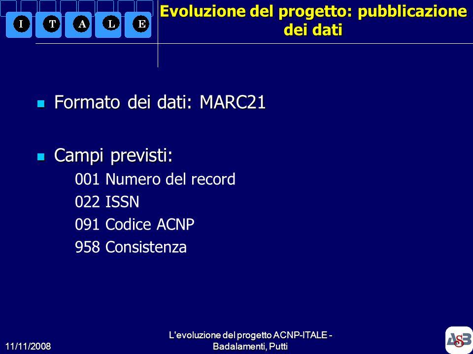 Evoluzione del progetto: pubblicazione dei dati