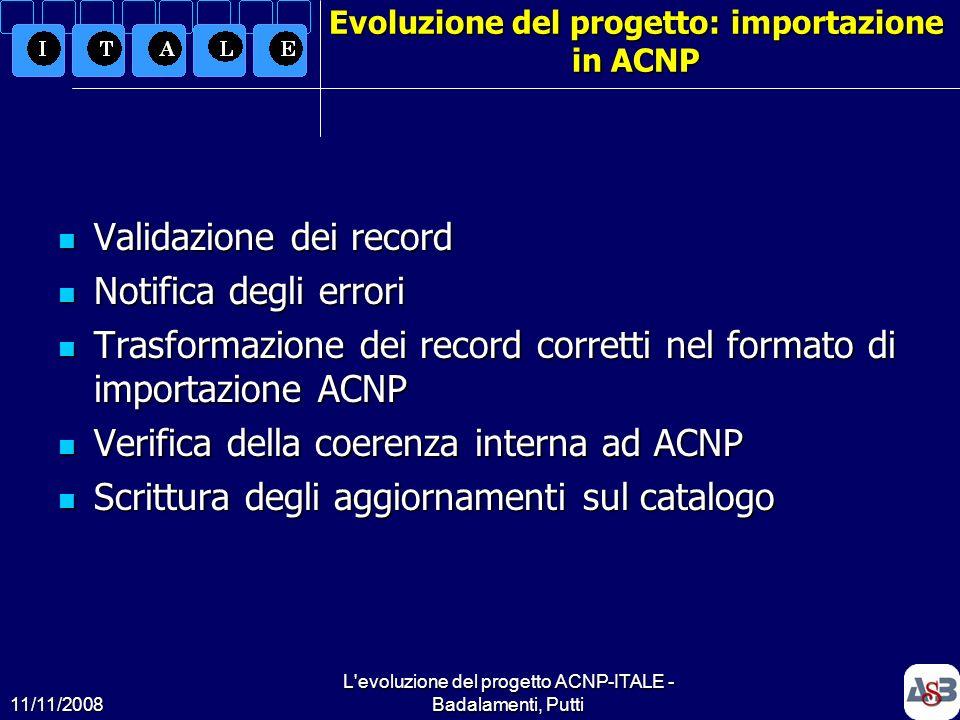 Evoluzione del progetto: importazione in ACNP