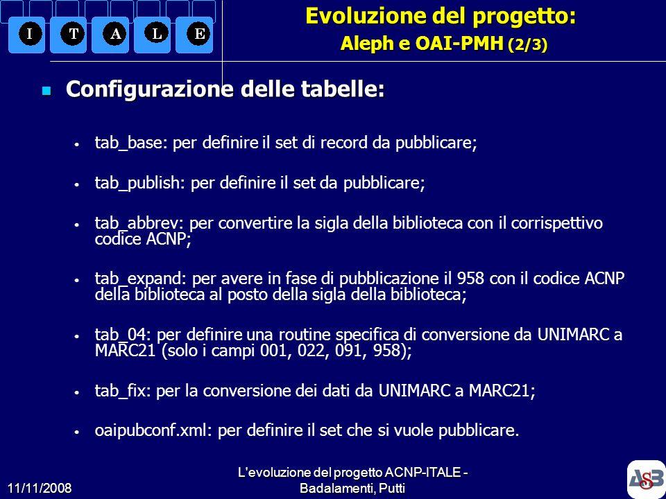 Evoluzione del progetto: Aleph e OAI-PMH (2/3)