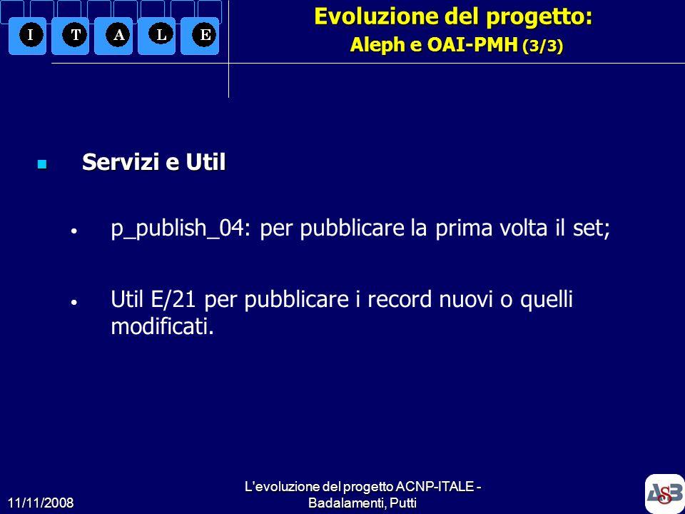 Evoluzione del progetto: Aleph e OAI-PMH (3/3)