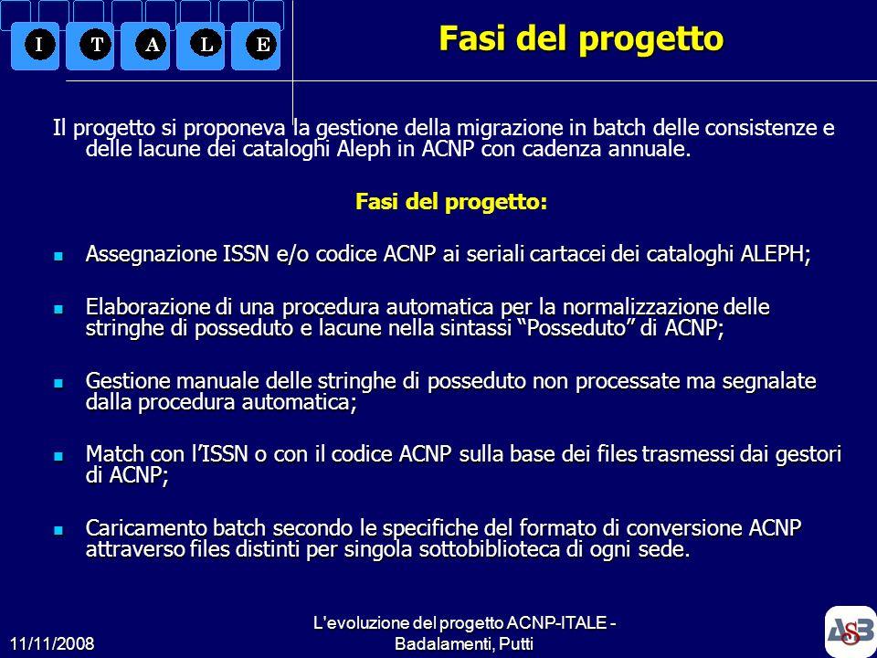 L evoluzione del progetto ACNP-ITALE - Badalamenti, Putti