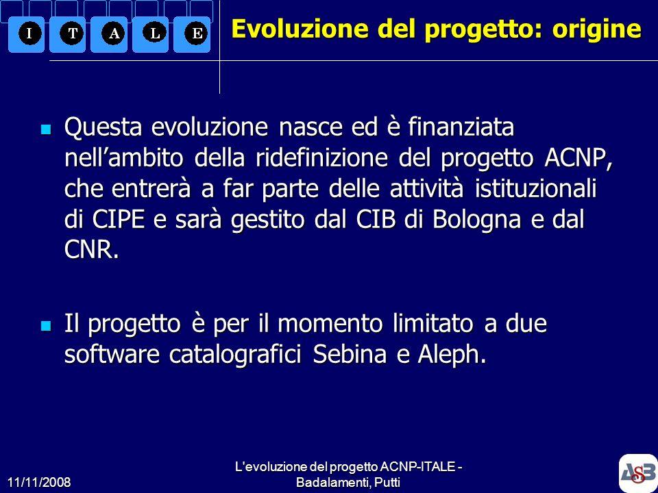 Evoluzione del progetto: origine