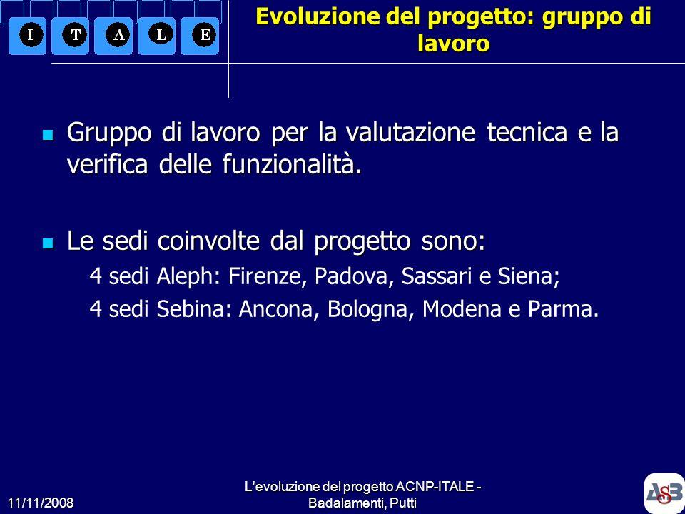 Evoluzione del progetto: gruppo di lavoro