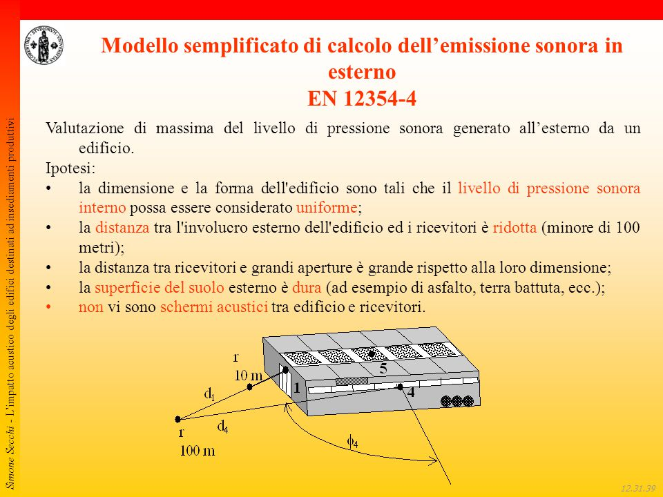 Modello semplificato di calcolo dell'emissione sonora in esterno EN 12354-4