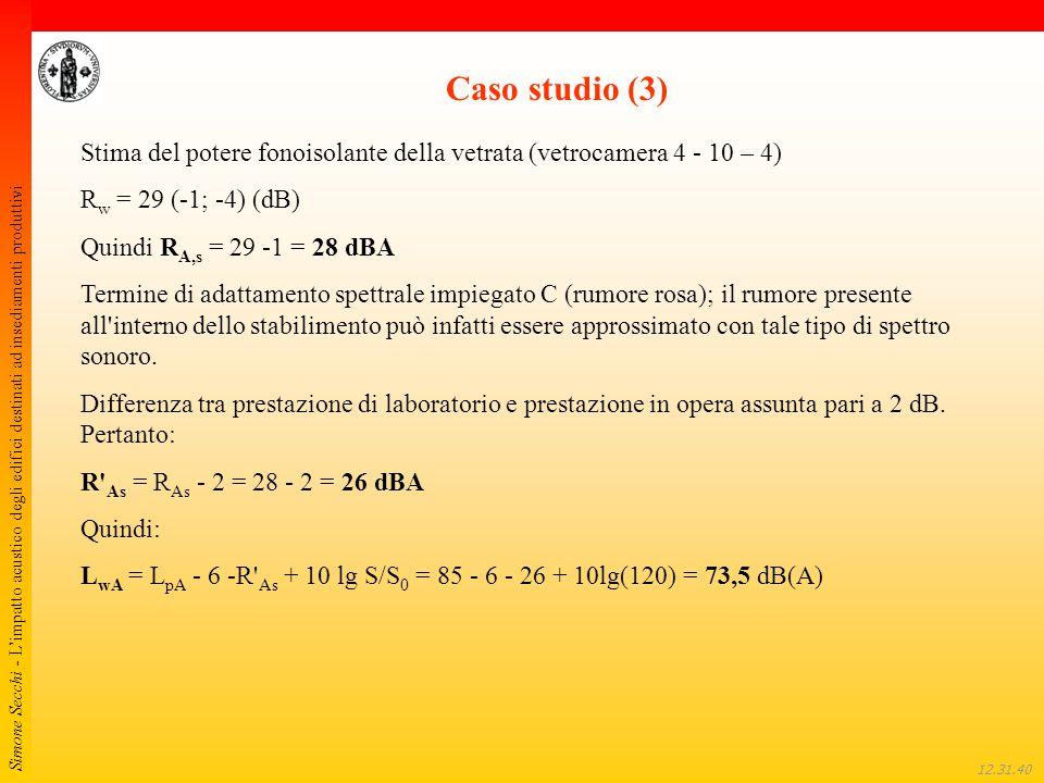 Caso studio (3) Stima del potere fonoisolante della vetrata (vetrocamera 4 - 10 – 4) Rw = 29 (-1; -4) (dB)