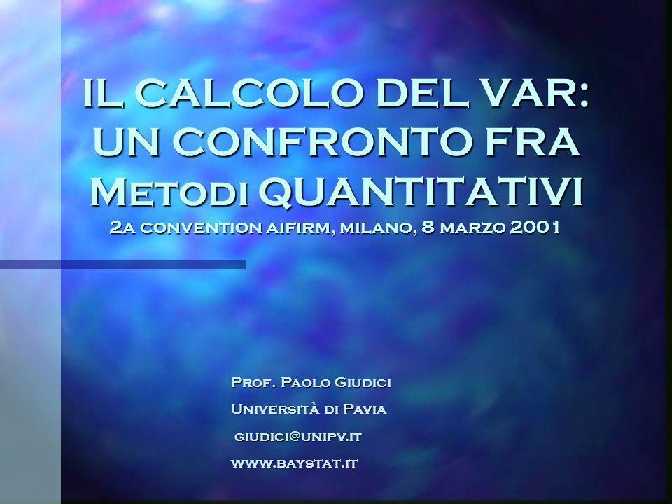 IL CALCOLO DEL VAR: UN CONFRONTO FRA Metodi QUANTITATIVI 2a convention aifirm, milano, 8 marzo 2001