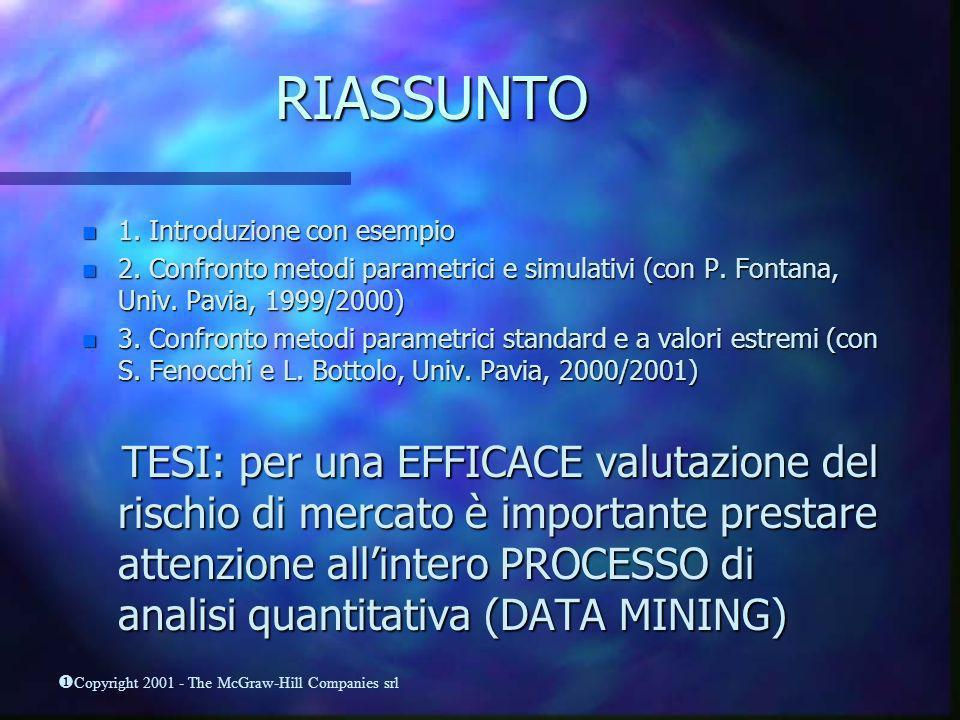 RIASSUNTO 1. Introduzione con esempio. 2. Confronto metodi parametrici e simulativi (con P. Fontana, Univ. Pavia, 1999/2000)