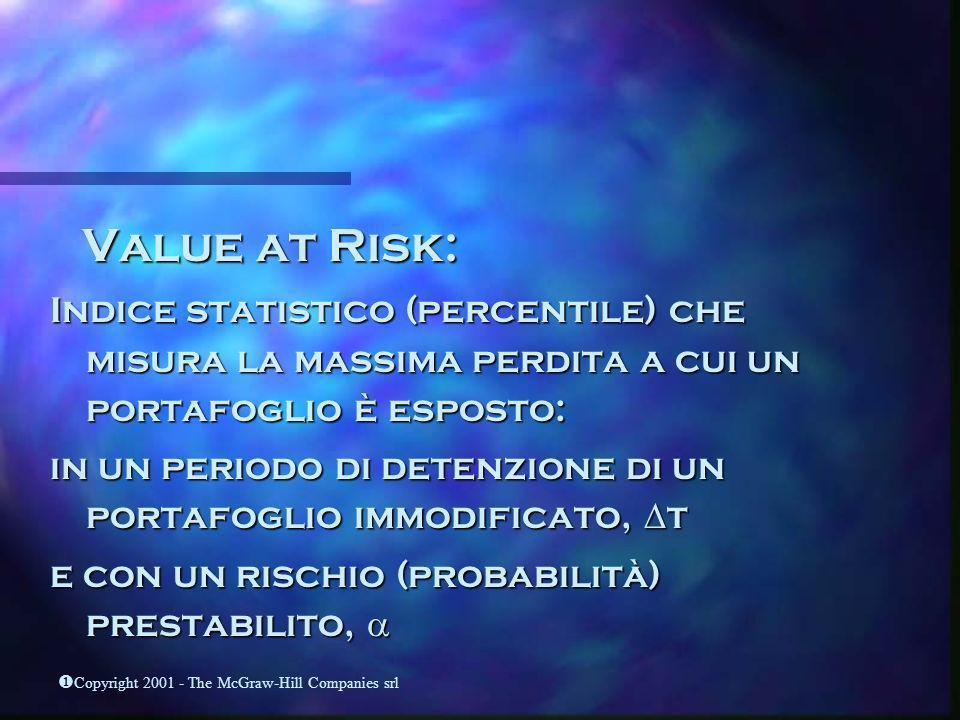 Value at Risk: Indice statistico (percentile) che misura la massima perdita a cui un portafoglio è esposto: