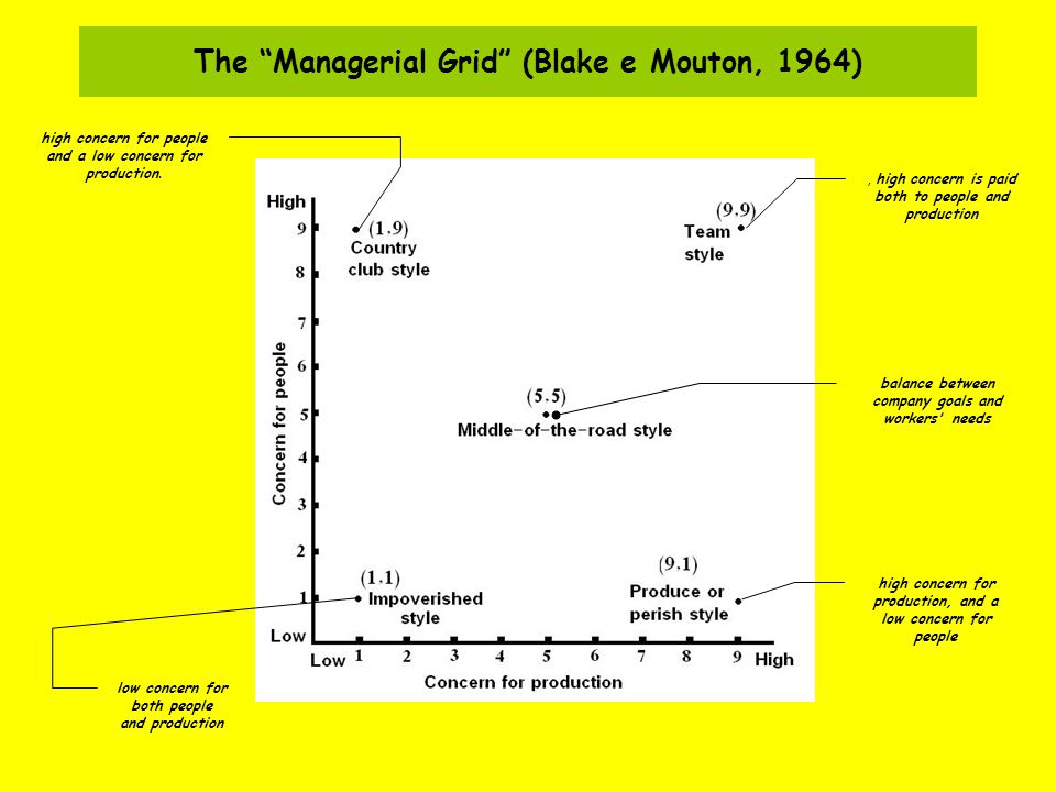 The Managerial Grid (Blake e Mouton, 1964)