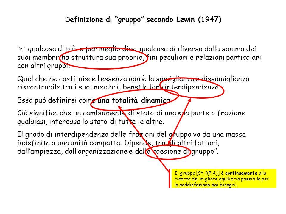 Definizione di gruppo secondo Lewin (1947)
